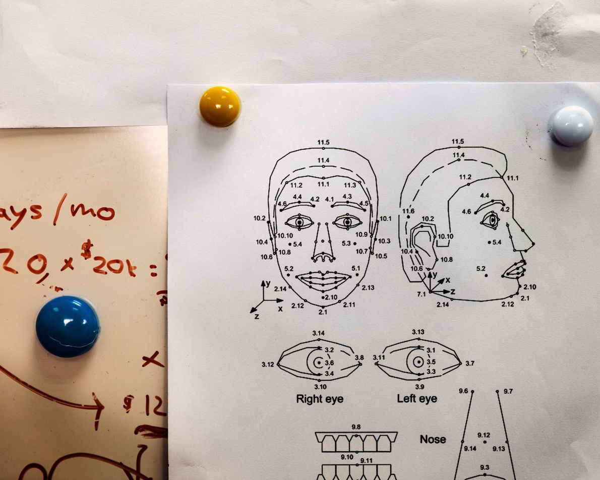 Diagrams like these help engineers design Sophia's range of more than 60 facial expressions, which are ...