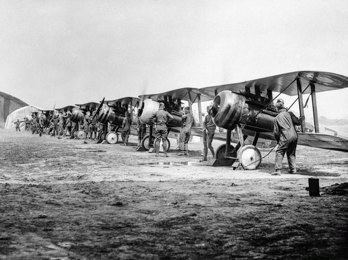 American pilots prepare their biplanes in a photograph taken in 1918.