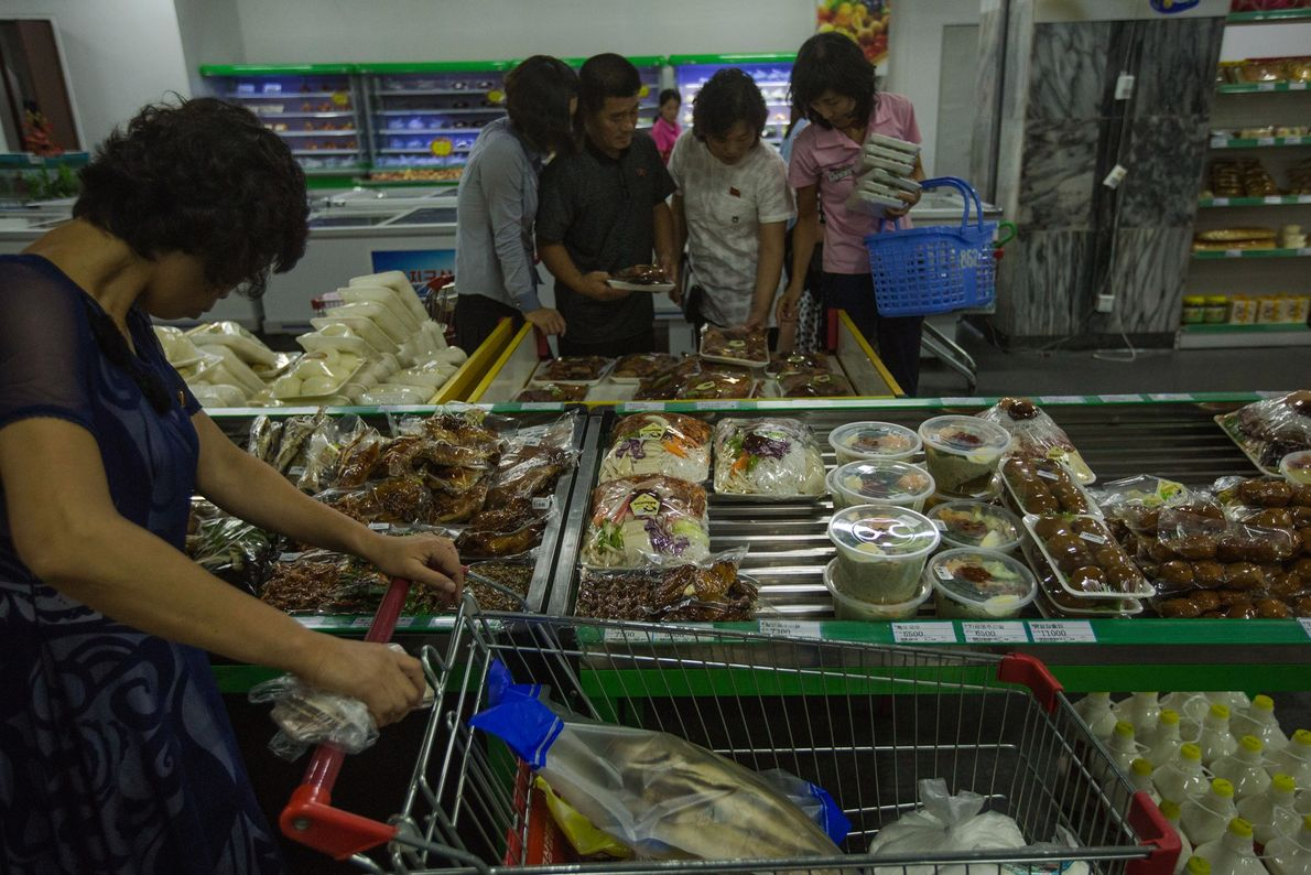 Shoppers in a Pyongyang supermarket.