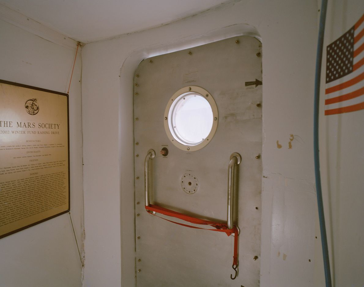 An airlock inside the habitat at the Mars Desert Research Station.