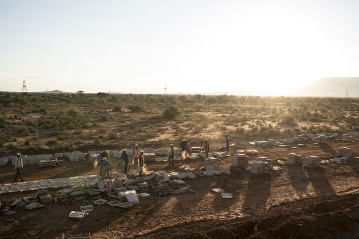 Construction workers labour on a section of the rail line in Tsavo East National Park.