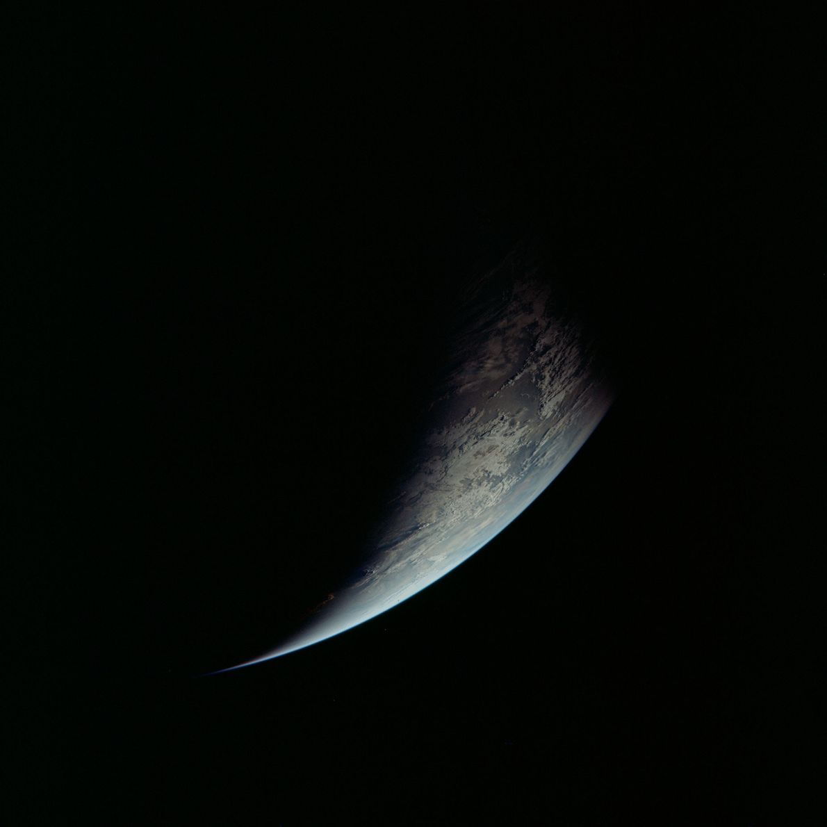 The boundary separating night and day, called a 'terminator', crosses the East African coastline.
