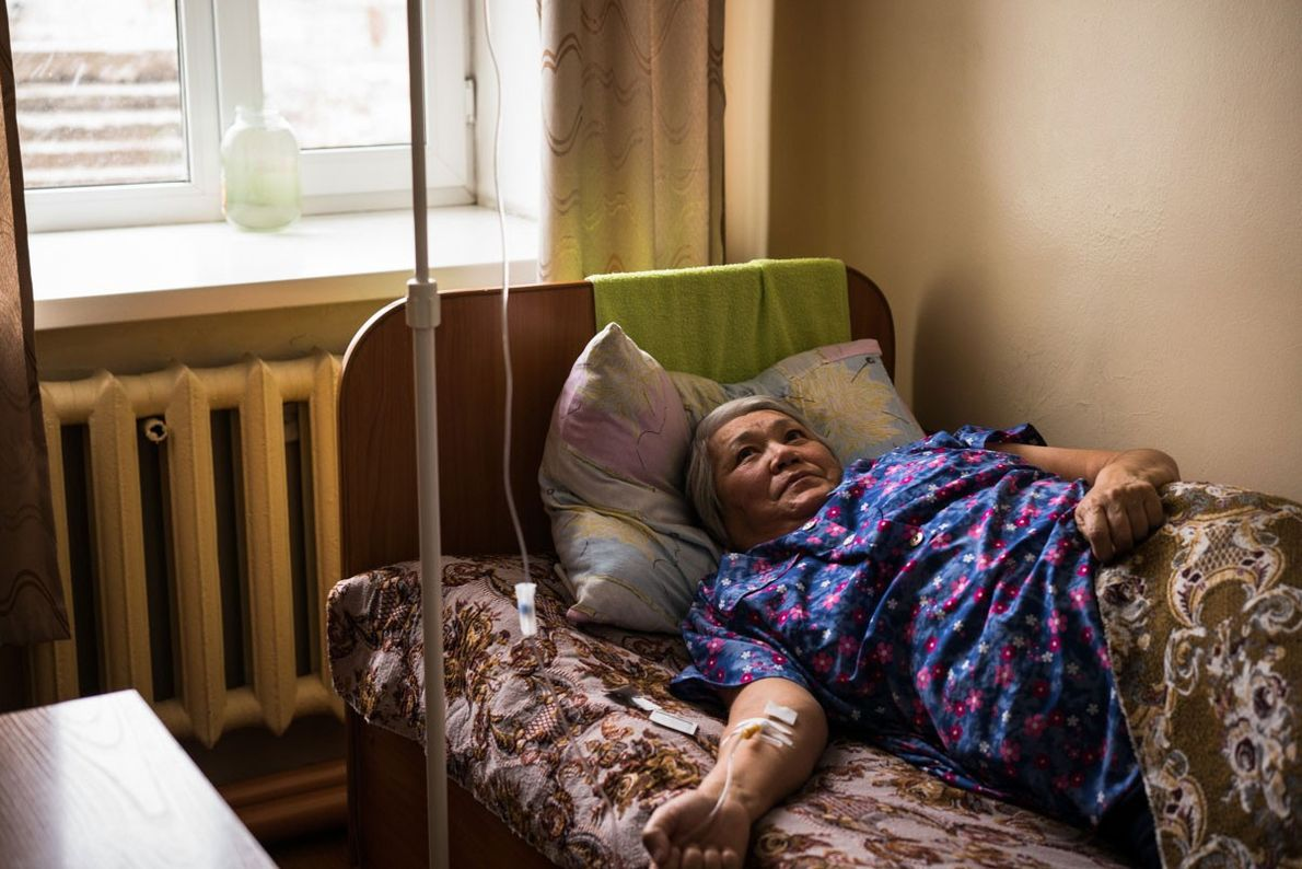 Balkiya Usabayeva, 64, receives treatment via a drip at the Institute for Radiation and Ecology in ...