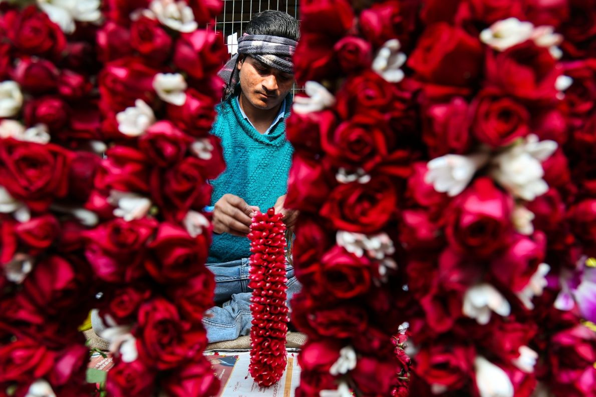 Your Shot photographer Jobit George made this portrait of a man selling flowers at the Ghazipur ...