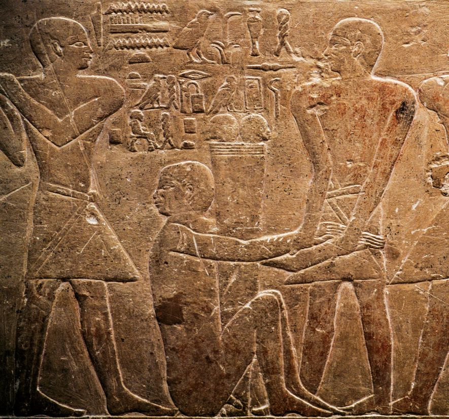 Officials punish a wrongdoer. Third-millennium B.C. relief on the tomb of Mereruka in the necropolis of ...