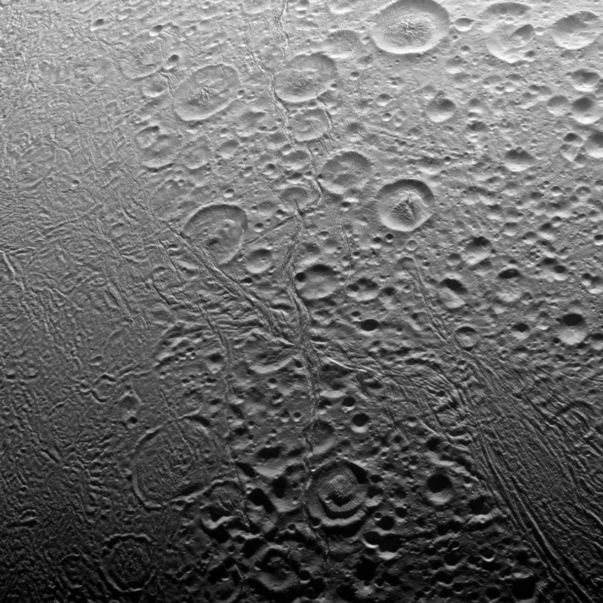 Cassini revealed that the north polar area of Enceladus is heavily cratered, an indication that the ...
