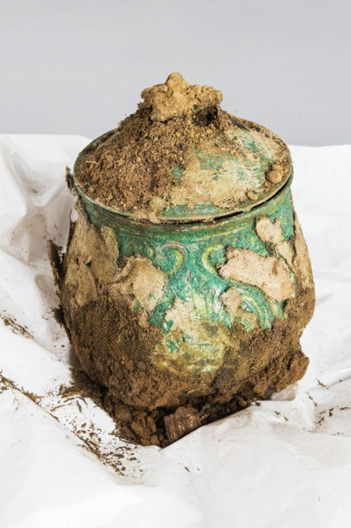 One of the rarest objects in the hoard was this finely wrought Carolingian vessel. Still encrusted ...