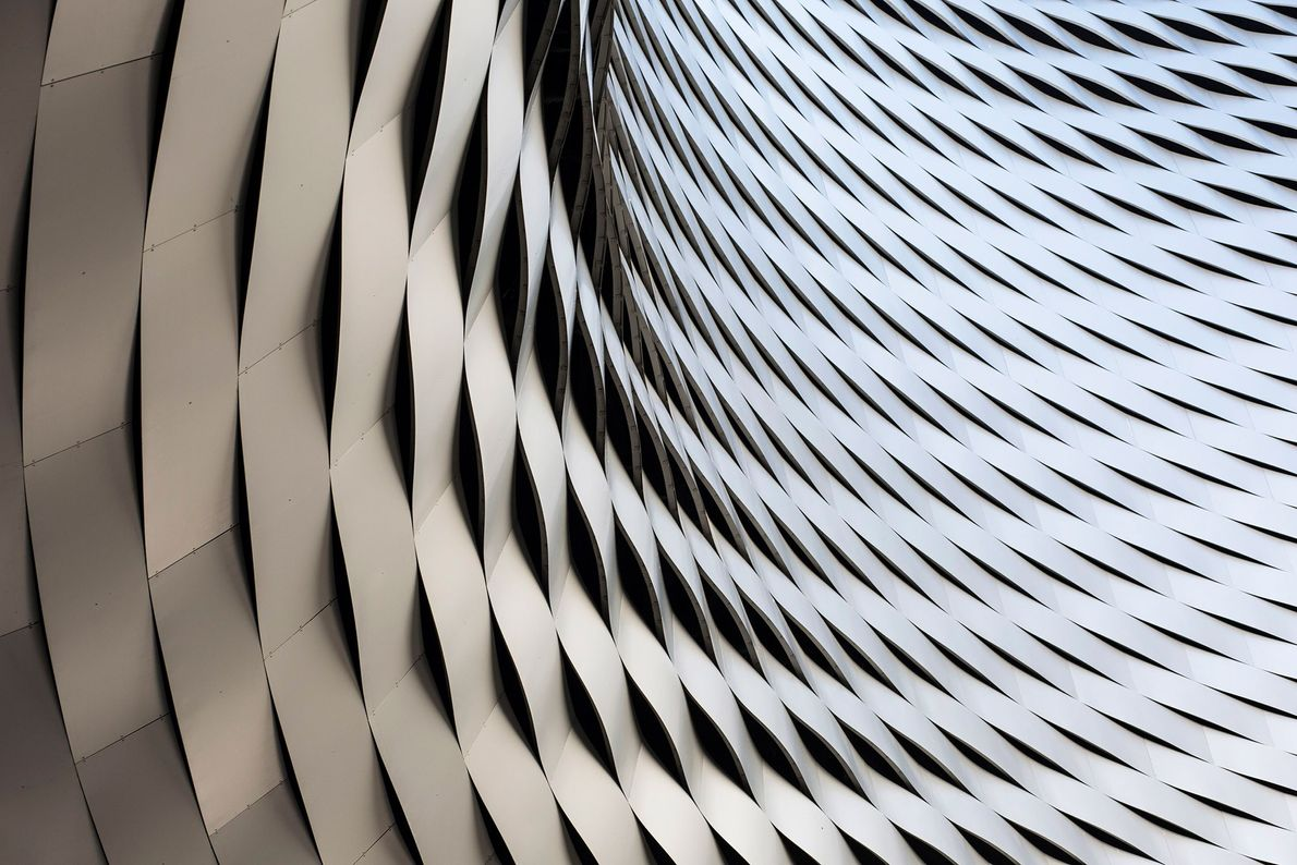 A close-up of the dizzying details of the Messeplatz exhibition space in Basel, Switzerland. While many ...