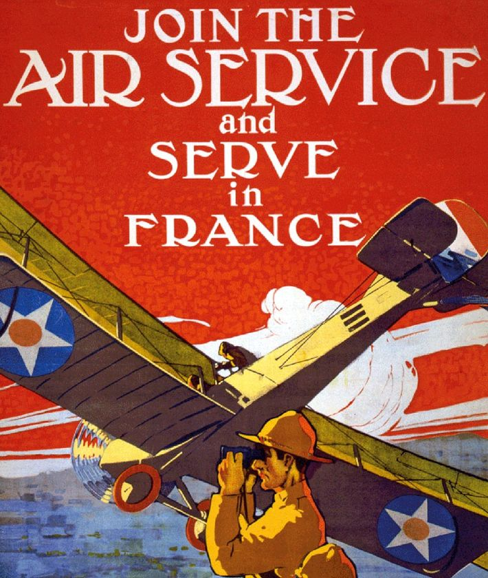 A U.S. poster from 1917 by Pual Verrees encourages enlistment in the fledgling American Air Service.