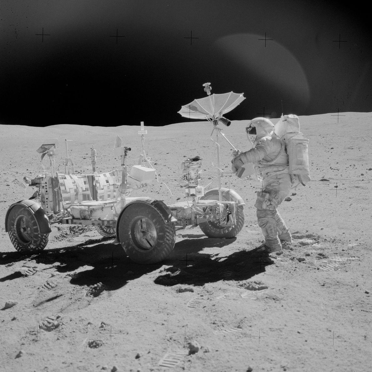Apollo 16 astronaut John Young, along with Charles Duke, set up the first lunar surface cosmic ...