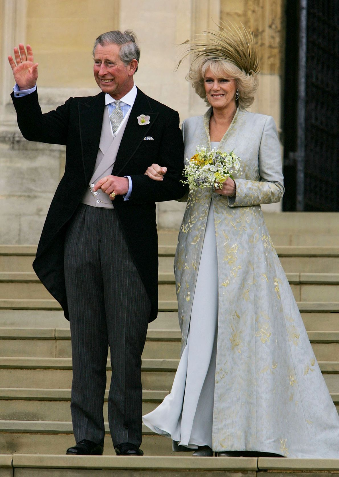 Prince Charles waves with the Duchess of Cornwall, formerly Camilla Parker Bowles, as they leave St ...