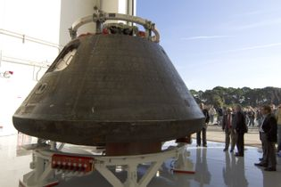 NASA's Orion spacecraft shows the scorch marks of a spacecraft that has returned to Earth. Orion ...