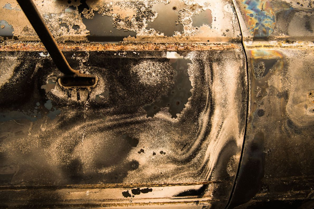 A burned pickup truck that was destroyed in the River fire west of Lakeport.