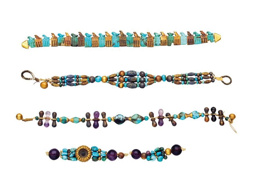 Colourful bracelets were taken from a mummified arm found in the tomb of Pharaoh Djer from ...