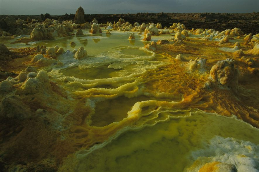 Earth's lowest volcano on land sits below sea level at Dallol, Ethiopia. Among the crusty salt ...