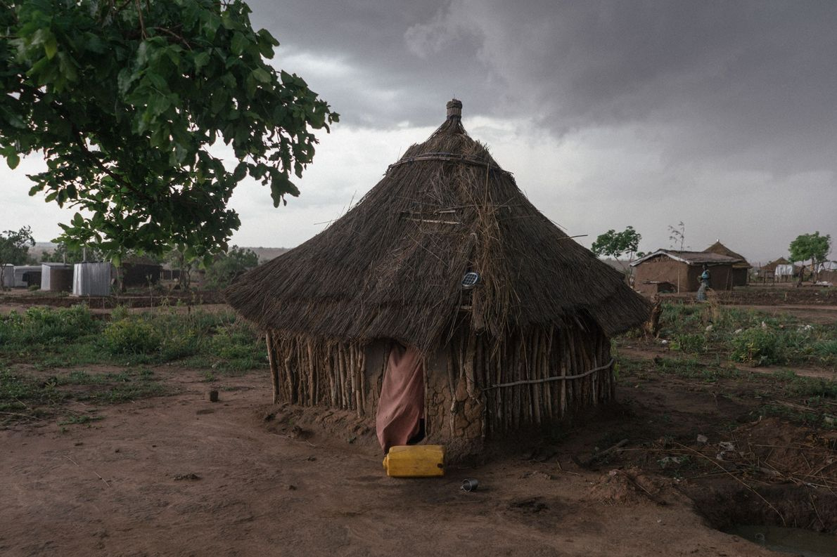 In the Pagirinya refugee settlement, homes built from natural materials have replaced the white tents frequently …