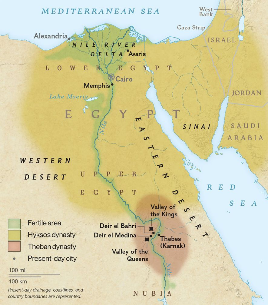 A map of the dynasties and temples of ancient Egypt.