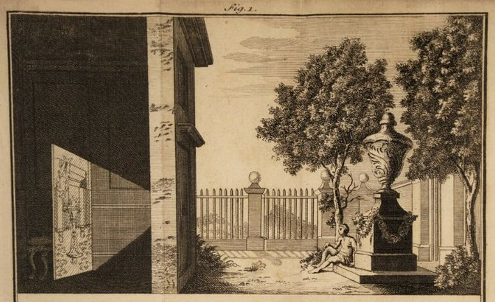 An illustration from James Ayscough's A Short Account of the Eye and Nature of Vision (1755) demonstrating ...