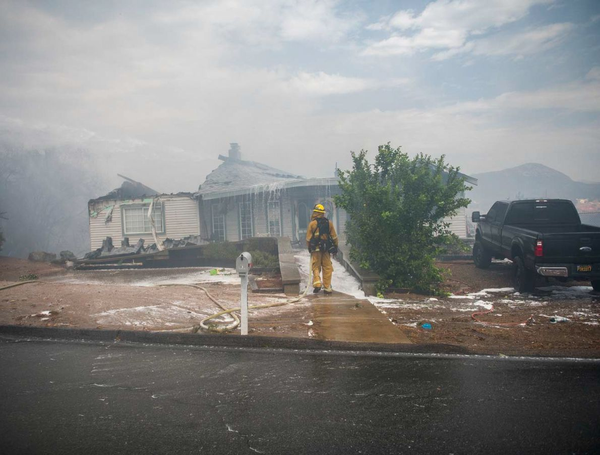 The West Fire burns in Alpine, California, in San Diego County. On 6th July, the fire ...