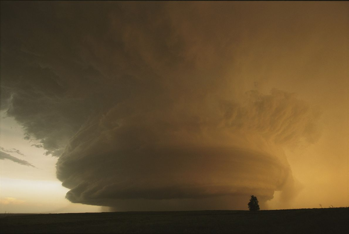 A rare mother ship cloud formation moves across the Texas Panhandle.