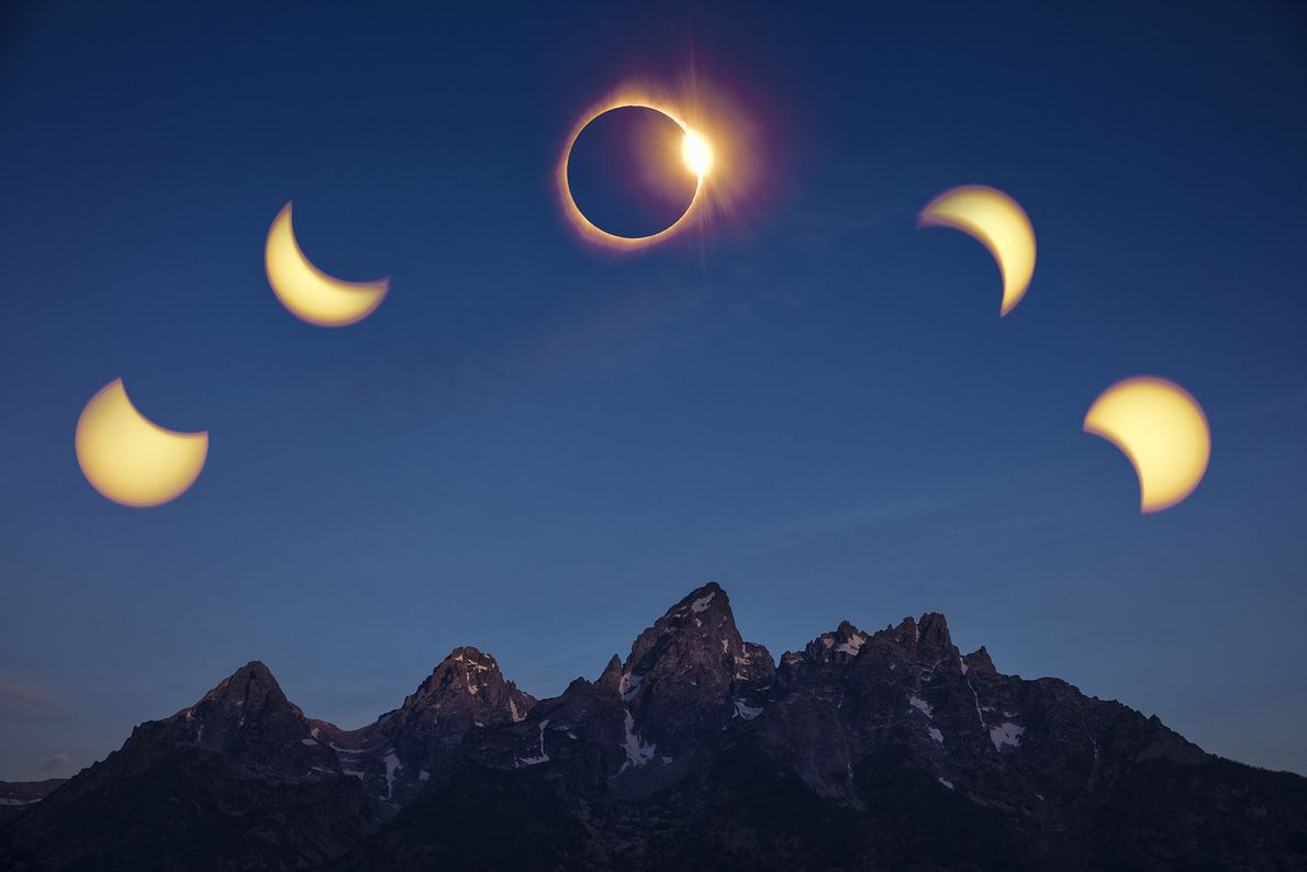 A compilation image of the phases of the eclipse over the Teton Range.