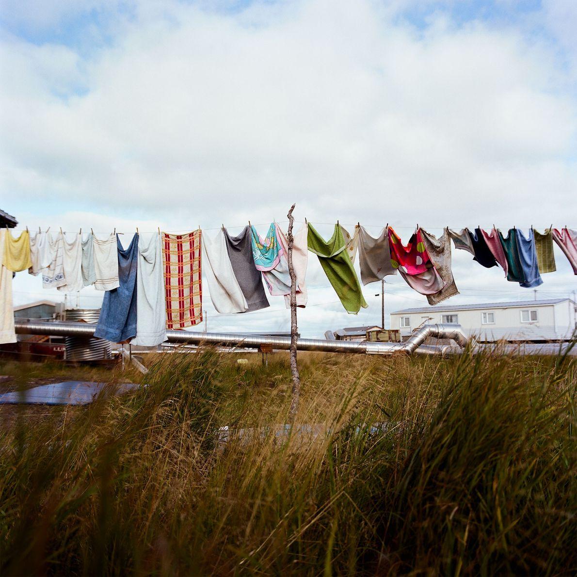 Clothes hang to dry in Quinhagak, Alaska.