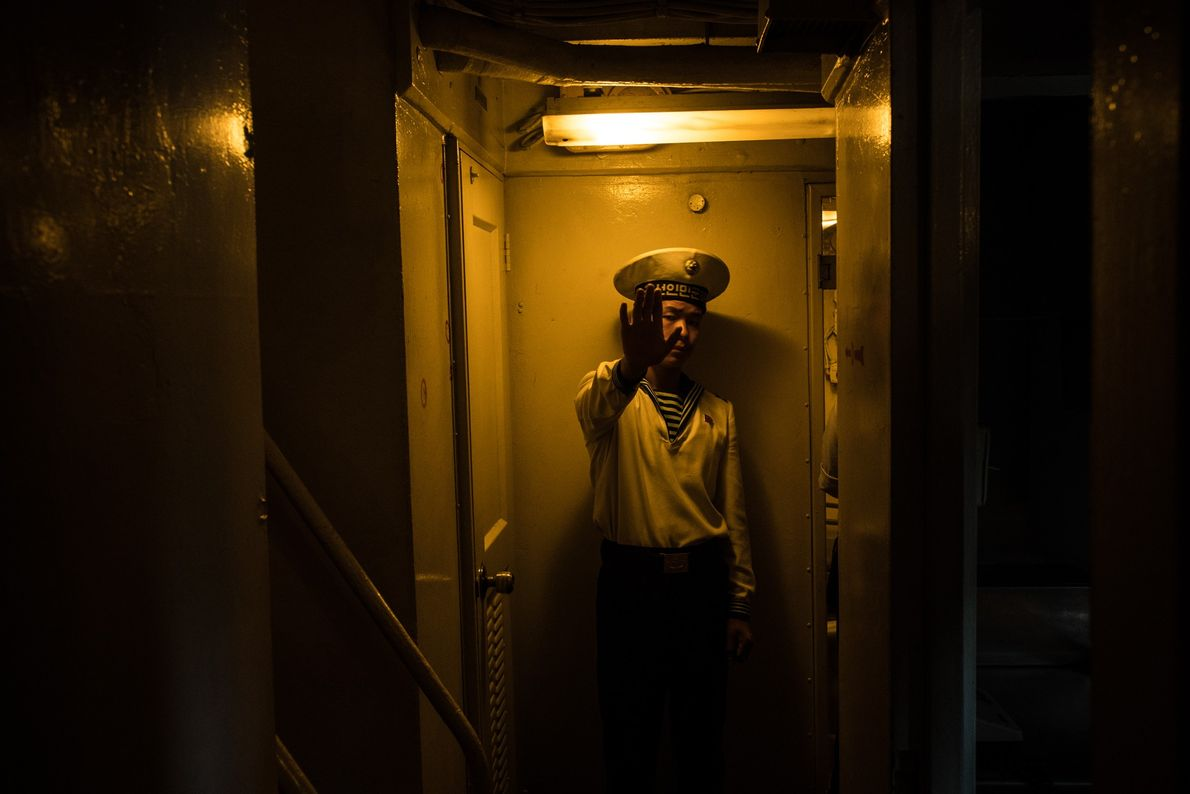 A North Korean sailor inside the captured USS Pueblo, which is now at the War Museum ...