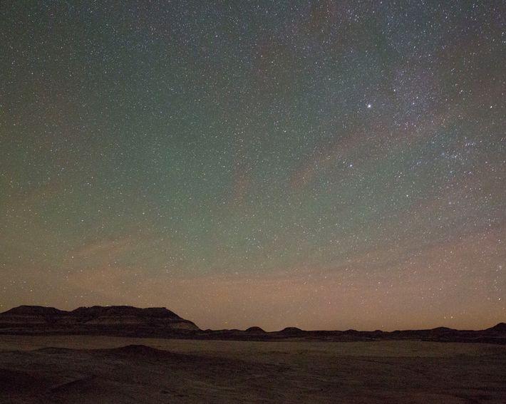 A starscape shines over the Utah desert near the Mars Desert Research Station in Hanksville.