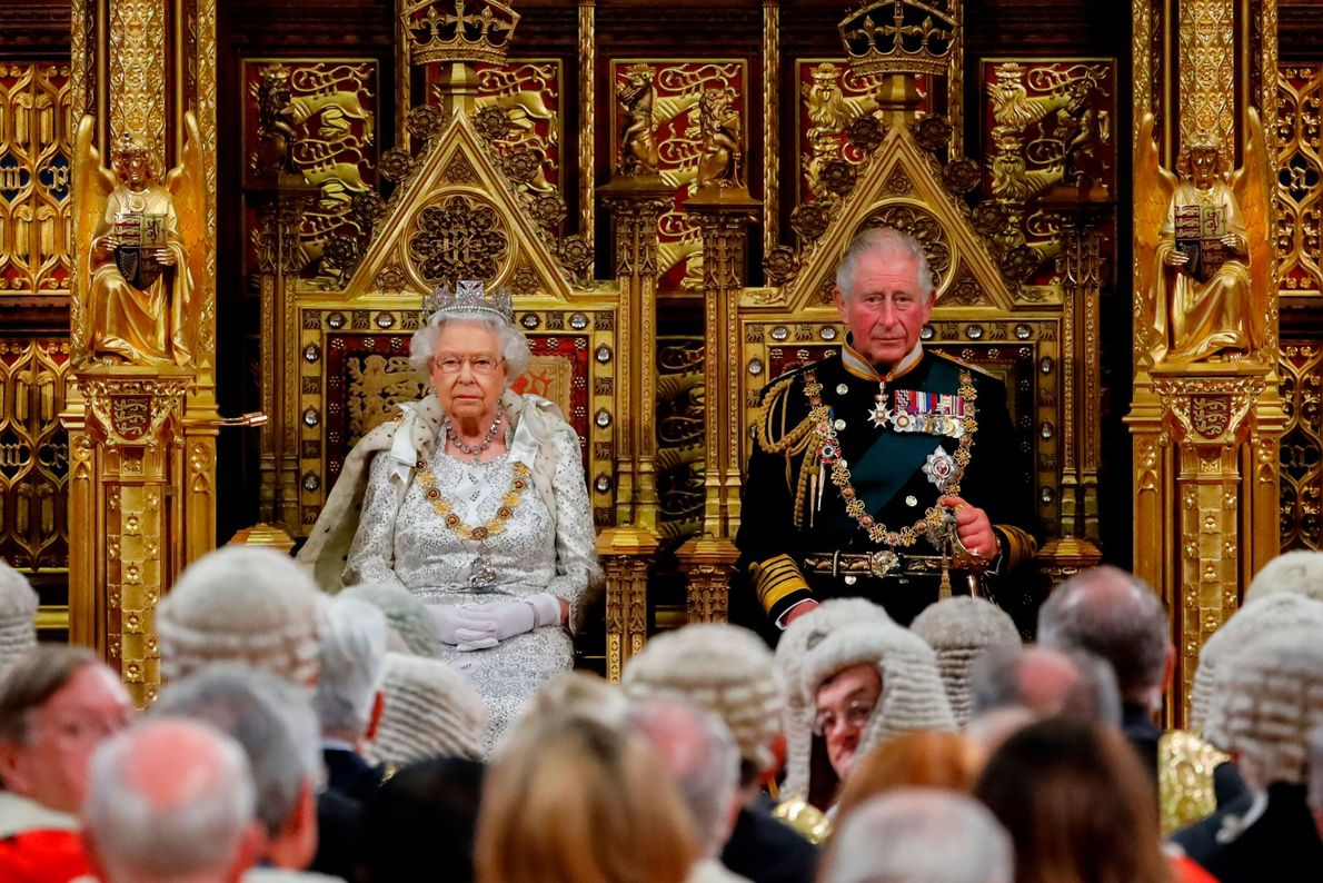 Queen Elizabeth II takes her seat on the the Sovereign's Throne in the House of Lords ...