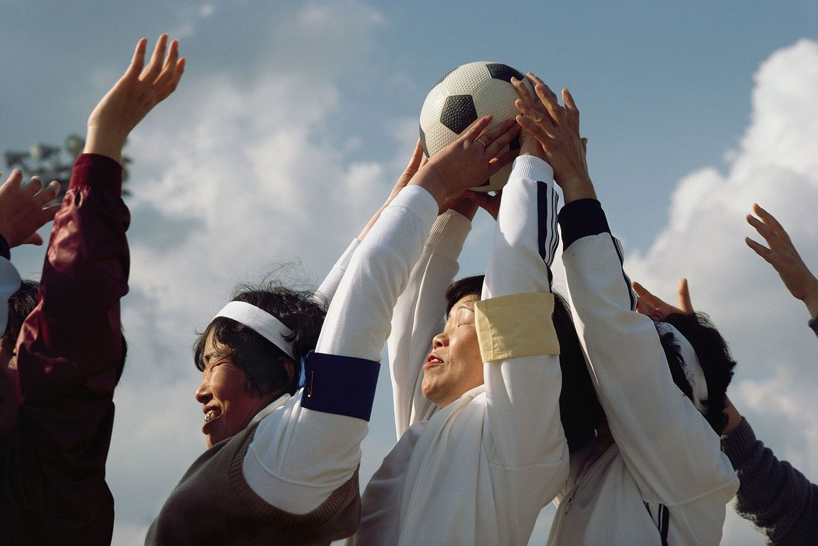 Women from different athletic clubs compete against one another in an annual sporting event in Honshu ...