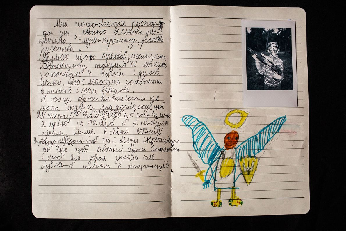 """Mykhailo Deinikov, 8, a camper at LIDER camp writes: """"I like the schedule, military discipline, military ..."""