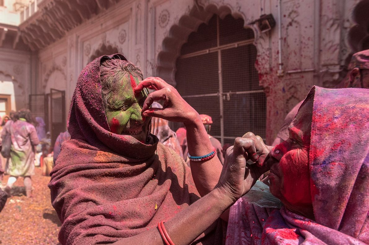 In an ancient tradition, married Hindu women put vermilion — or sindoor — on each other's ...