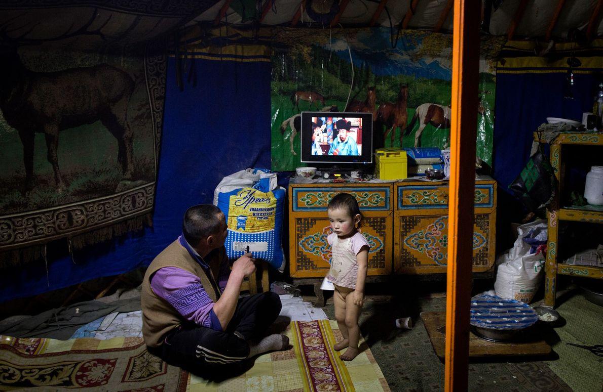 Davaadorg and Serjna in their yurt in Uvs Provence, Mongolia.