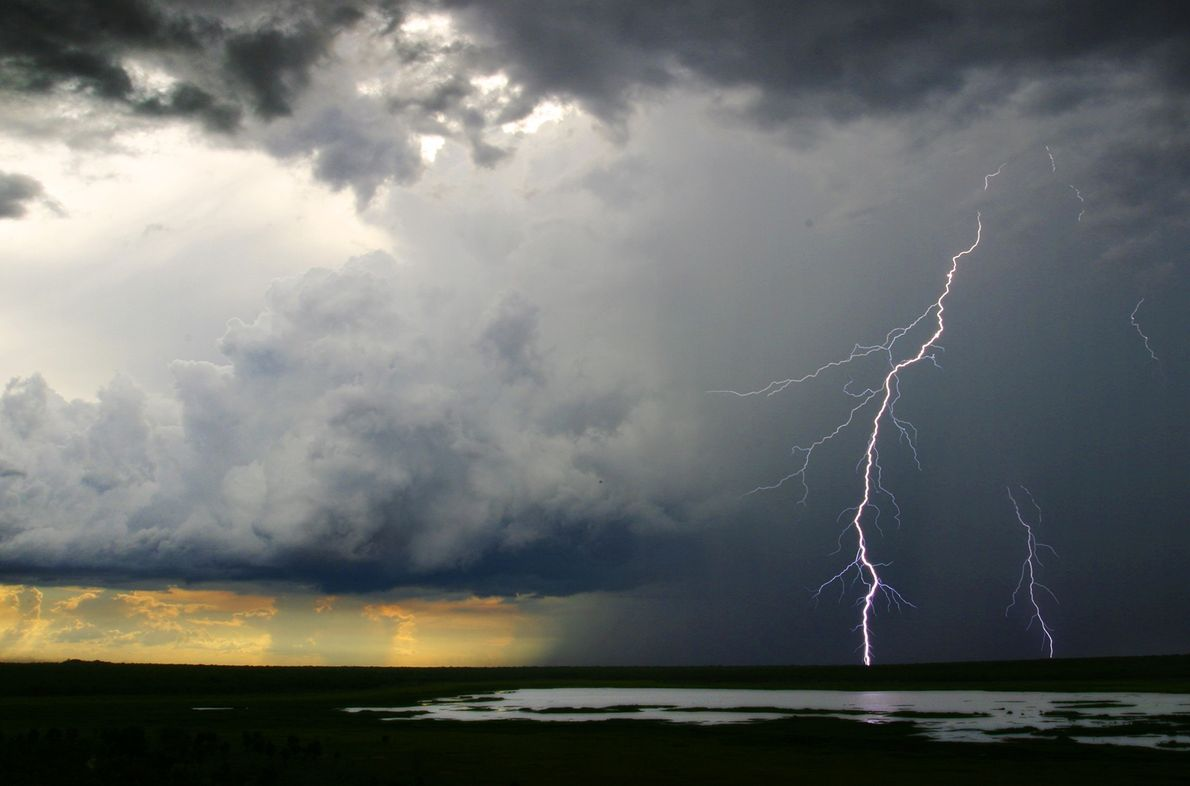 Lightning juts out from a thick cloud as rain begins to fall in the background.