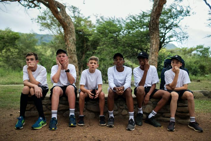 Students from Hilton College in Hilton, South Africa, camp out for a night on the school's ...