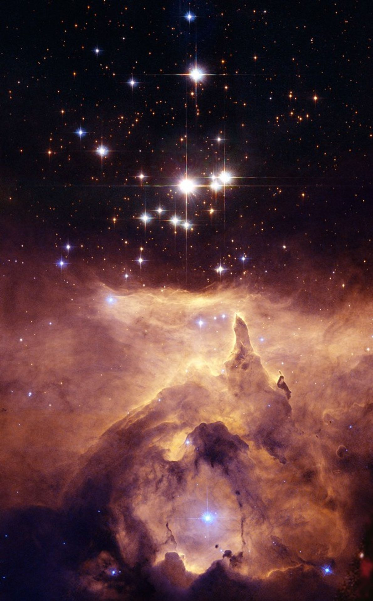 The star cluster Prismis 24 hangs above the monstrous emission nebula NGC 6357, seen here in ...