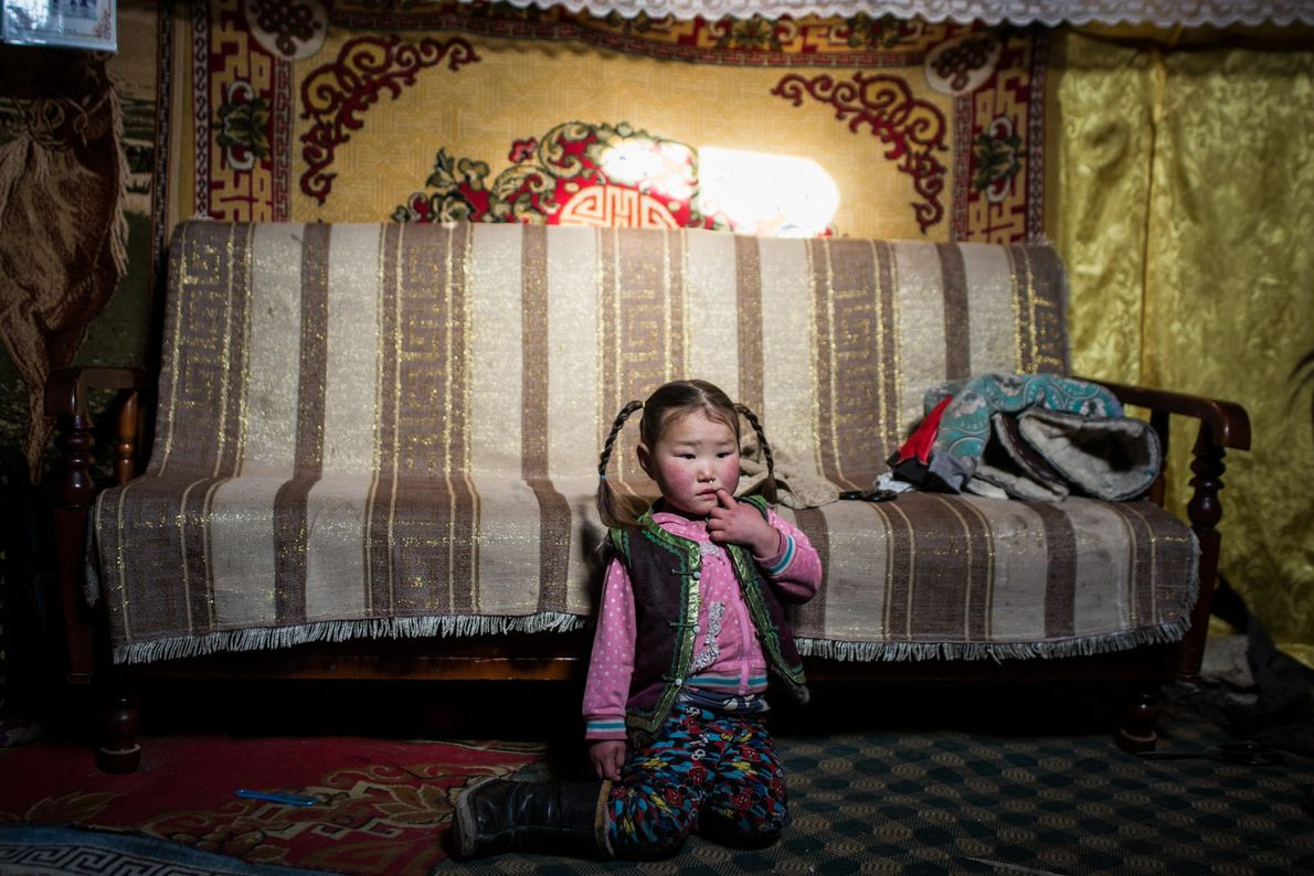 Namuntsetseo is seen in her family's home in Uvs Provence.