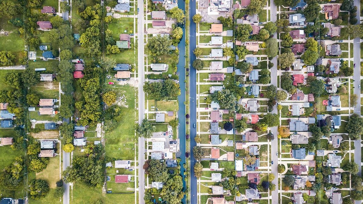 A canal divides Detroit's Jefferson Chalmers neighbourhood from its neighbor, Grosse Pointe Park.