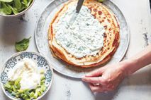 Goat's cheese and spinach crepes.