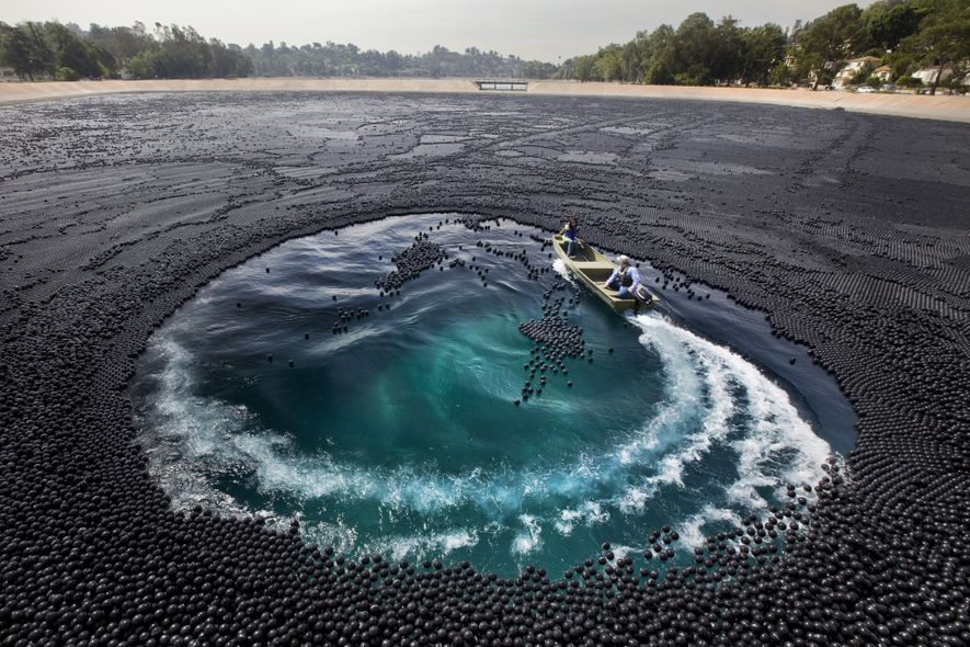About 3 million black shade balls covered the Ivanhoe Reservoir in the Silver Lake section of …