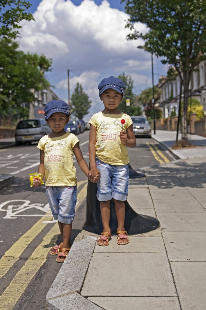 Twin girls photographed in Hackney, London