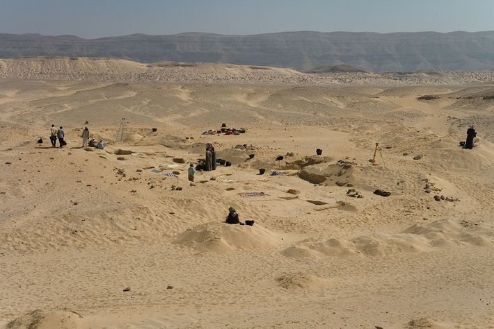 The ancient cemetery in Amarna, Egypt where the burials containing head cones were discovered.