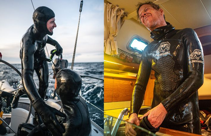 Left: Heide congratulates Schnöller after a successful dive with the whales. Right: Schnöller feels the pain of ...