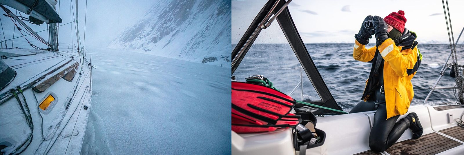 Left: Sailing into the frozen Trollfjorden, in Lofoten. Right: Heide searches for sperm whale blows from the deck.