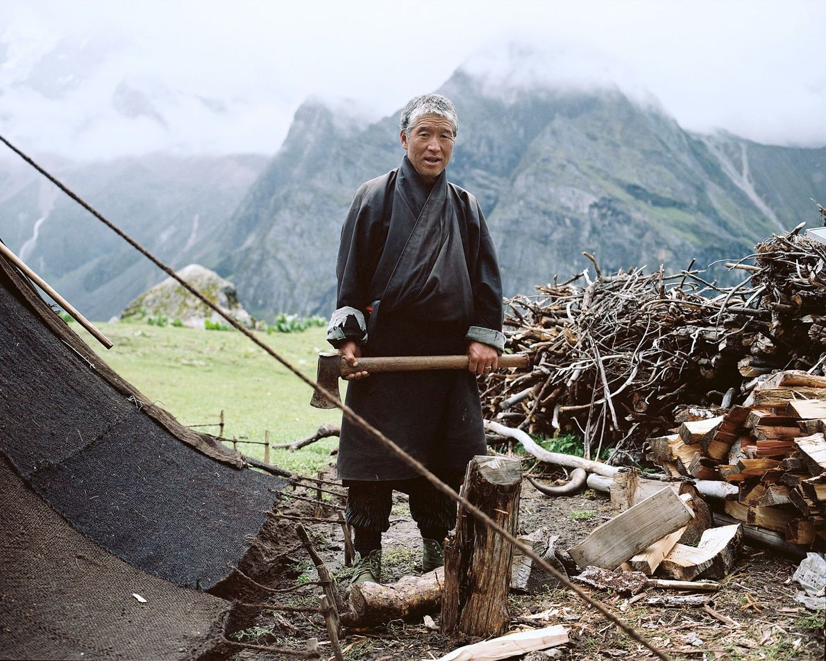 Tshering prepares wood at his summer camp near the Masangang glacier. He's unsure if his children ...