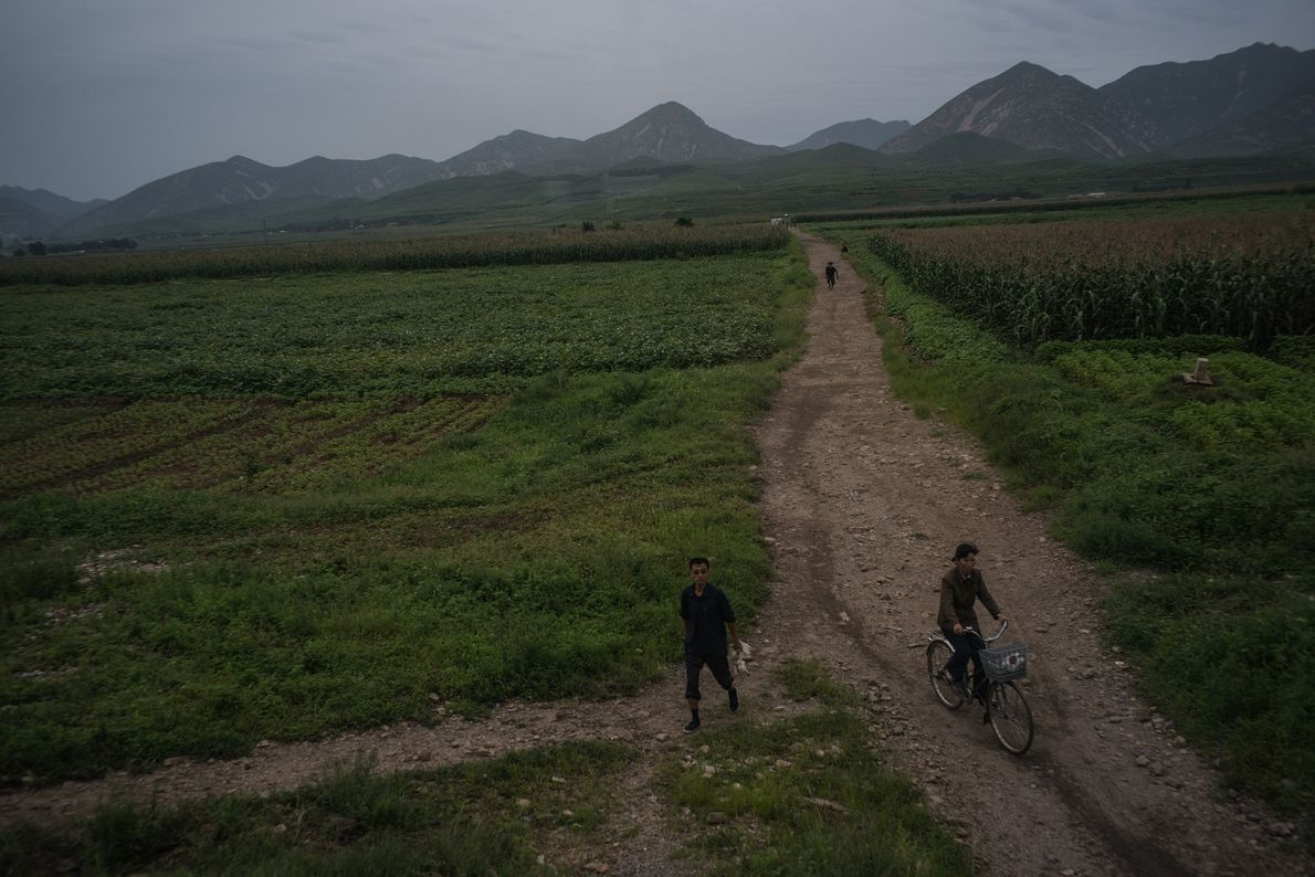 A rural road in the countryside near Kaesong, North Korea.