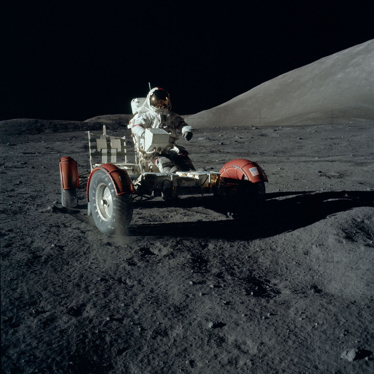 The Lunar Roving Vehicle on the Apollo 17 mission travelled about 22 miles in four and ...