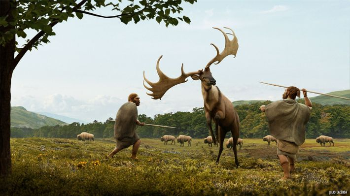 An artist's recreation of a Megaloceros giganteus hunt. These giant deer, which could stand seven feet ...