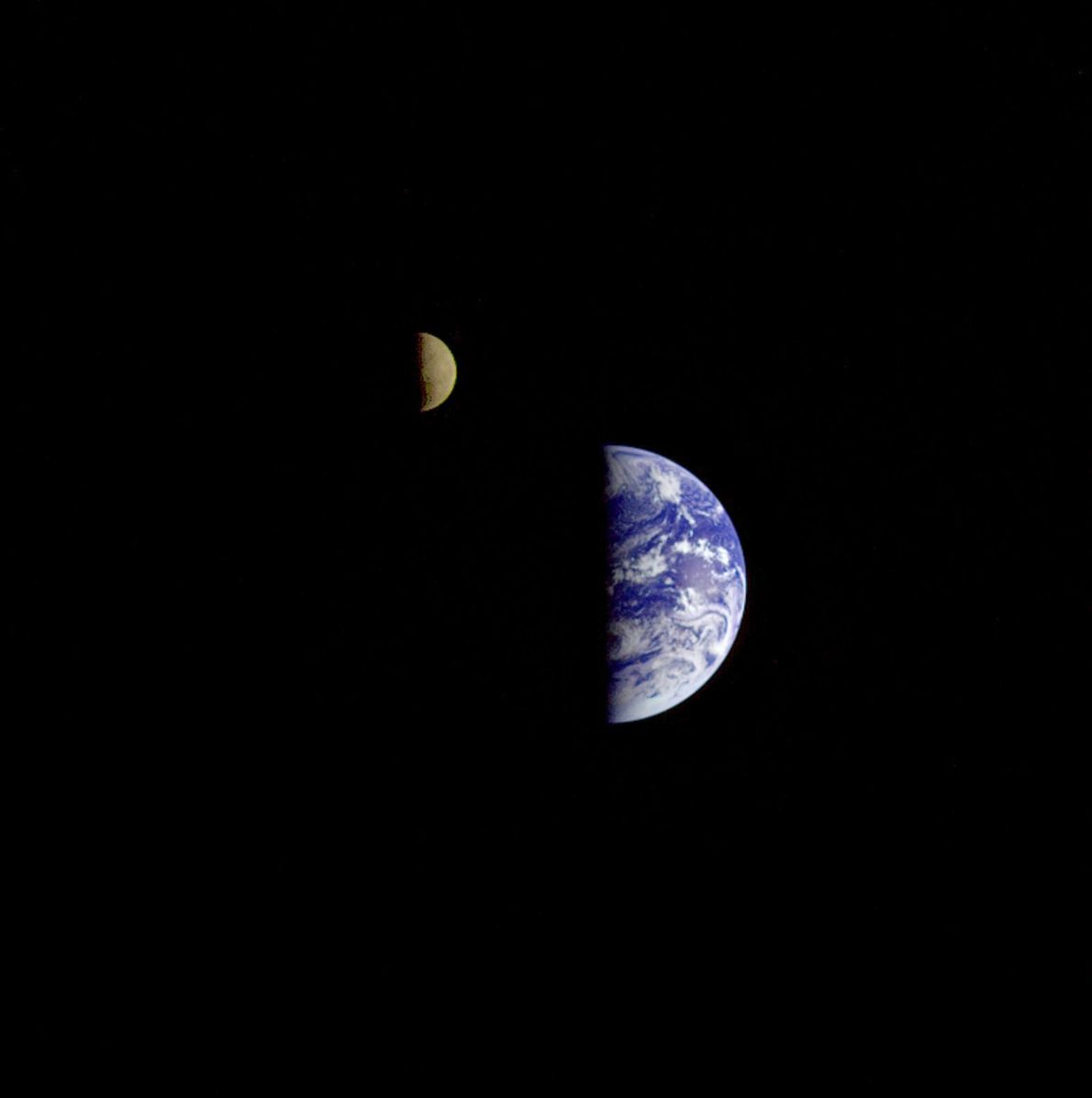 The Galileo spacecraft, the first to visit an astreroid and to thoroughly document Jupiter's moons, captured ...