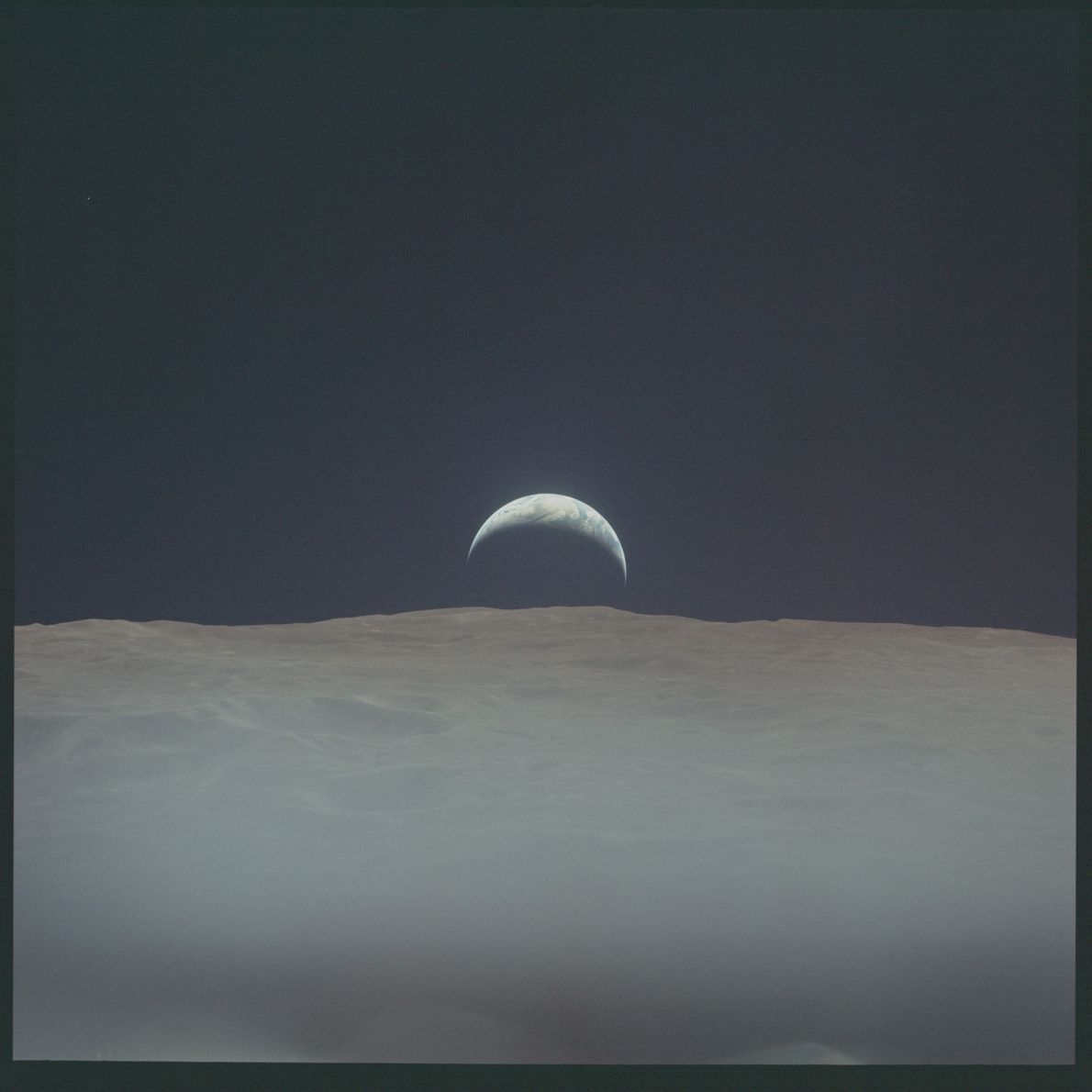 In this photograph taken during the second successful mission to land on the moon, Apollo 12 ...